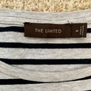 The Limited Tops - The Limited women Med Gray striped Long Sleeve Top